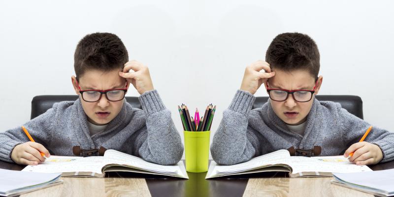 мальчик делает уроки, как называется человек пишущий двумя руками