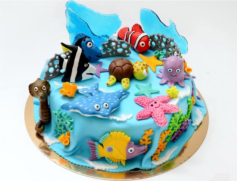 Торт, фигурки из мастики, торт подводный мир